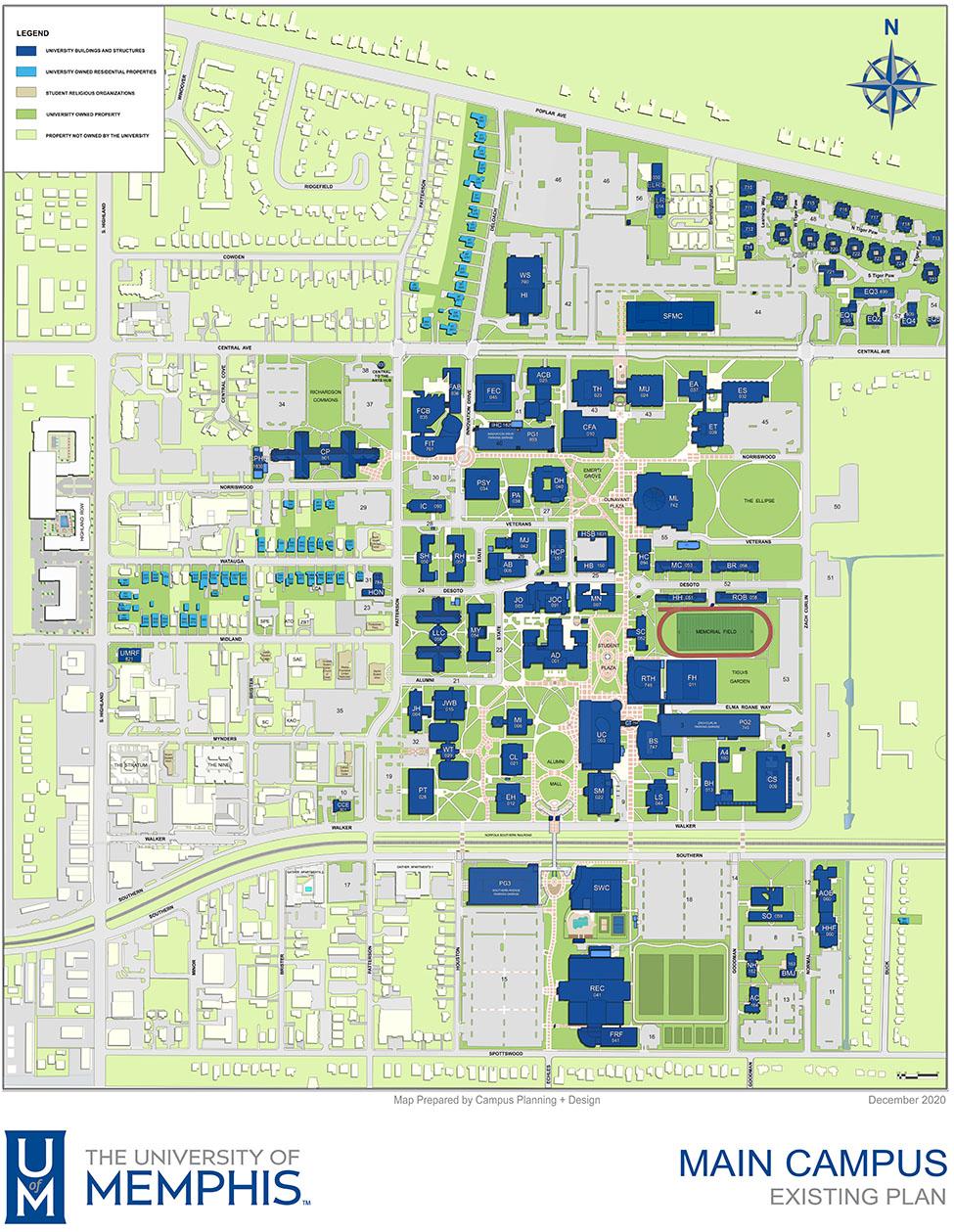 The University of Memphis Main Campus Map